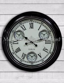 "Black with White Face ""Dublin"" Multi Dial Wall Clock"