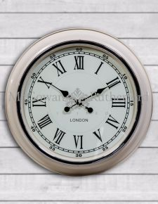 "Cream with White Face ""London"" Modern Wall Clock"