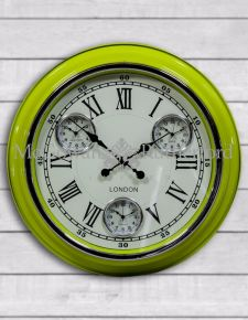 "Retro Lime Green with White Face ""London"" Multi Dial Wall Clock"