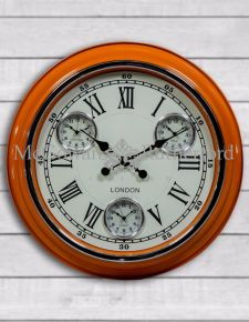 "Retro Orange with White Face ""London"" Multi Dial Wall Clock"