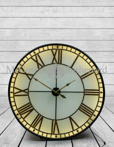 "Large Black and Gold Back Lit Glass ""Westminster"" Wall Clock"