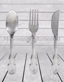 Polished Aluminium Fork, Knife & Spoon Set Wall Hangings