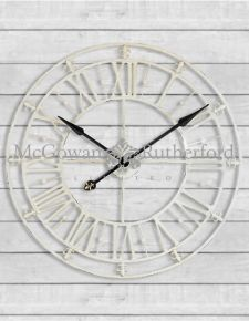 Medium Antique Cream Iron Skeleton Wall Clock