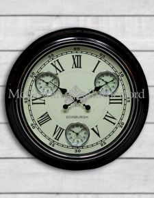 "Black with White Face ""Edinburgh"" Multi Dial Wall Clock"
