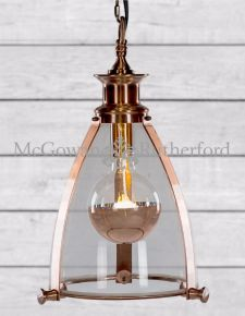 Copper Framed With Glass Lantern Ceiling Light