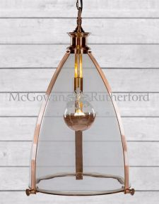 Copper Framed Glass Large Lantern Ceiling Light