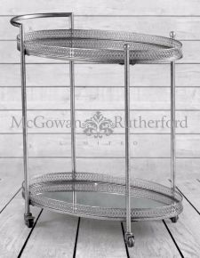 Antique Silver Metal Trolley with Mirrored Shelves
