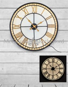 "Black and Gold Back Lit Glass ""Westminster"" Wall Clock"