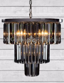 Large Chrome Smoke Glass Prism Drop Cascade Chandelier
