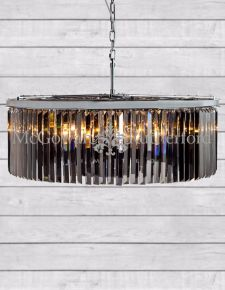 Extra Large Chrome Smoke Glass Prism Cascade Chandelier