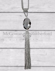 Silver Glass Drop Tassel