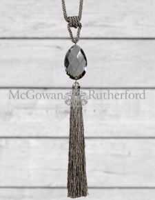 Taupe Glass Drop Tassel