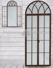 Antiqued Iron Tall Arch Window Metal Mirror