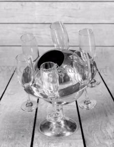 Polished Aluminium Saturn Ice Bucket/ Champagne Cooler with 6 Glasses
