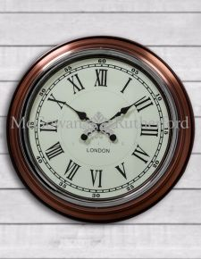 "Vintage Copper with White Face ""London"" Modern Wall Clock"