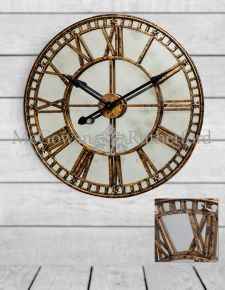 Large Gold Clock with Antiqued Mirror Face
