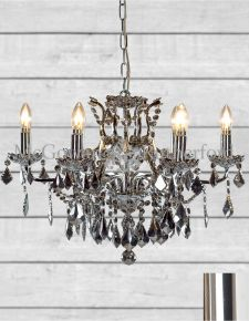 Chrome 6 Branch Shallow Chandelier with Chromed Crystals
