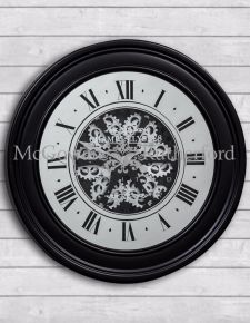 Black Mirrored Face Antique Style Moving Gears Clock