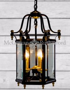 Antiqued Black and Gold Traditional Hall Lantern