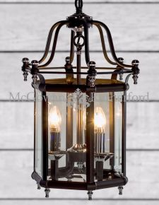 Antiqued Black and Chrome Traditional Hall Lantern