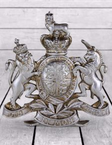 Antique Silver Coat of Arms Wall Plaque