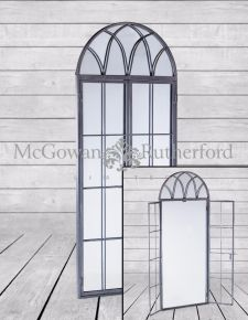 Antiqued Lead Grey Iron Tall Arch Window Metal Mirror