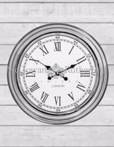 "Chrome with Cream Face ""London"" Modern Wall Clock"