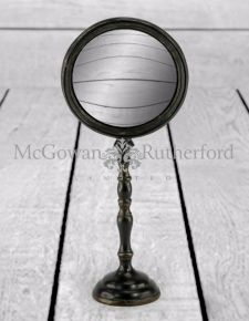 Large Antique Black Convex Mirror on Stand
