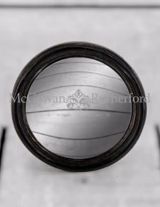 Antiqued Black Thin Framed Small Convex Mirror