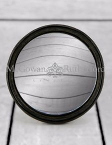 Antiqued Black Thin Framed Large Convex Mirror