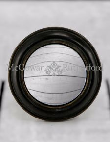Antiqued Black Rounded Framed Small Convex Mirror