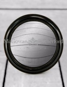 Antiqued Black Rounded Framed Large Convex Mirror