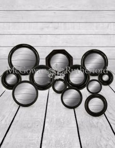 Set of 12 Assorted Antiqued Black Framed Convex Mirrors (MK4-MK15)