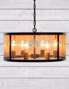 Small Round Black Iron Industrial Chandelier