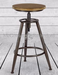 Metal and Wood Industrial Bar Stool