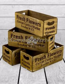 "Set of 4 Antiqued ""Covent Garden"" Wooden Boxes"