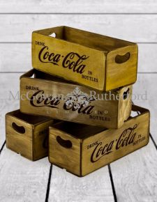 Set of 4 Antiqued Cola Wooden Boxes