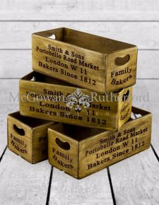 "Set of 4 Antiqued ""Portobello Road Market"" Wooden Boxes"