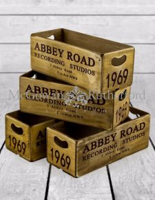 "Set of 4 Antiqued ""Abbey Road"" Wooden Boxes"