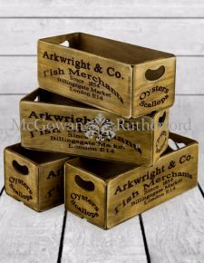 "Set of 4 Antiqued ""Billingsgate Market"" Wooden Boxes"