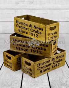 "Set of 4 Antiqued ""Cromer Crabs"" Wooden Boxes"