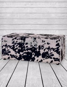 Black Cowhide Style Fabric Footstool/Coffee Table