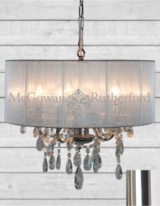 Chrome 5 Branch Chandelier with Silver Shade