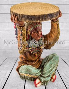 "Native American Chief  Holding ""Trunk Slice"" Side Table"