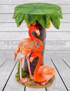 Pair Of Flamingos Under Palm Tree Side Table