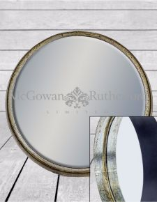 Large Black and Pewter Deep Framed Cylinder Mirror
