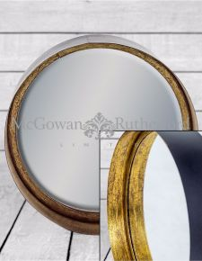 Small Black and Bronze Deep Framed Cylinder Mirror