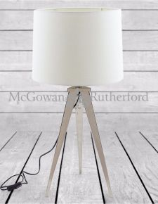 Chrome Arrow Tripod Table Lamp with White Shade *CLEARANCE ITEM*