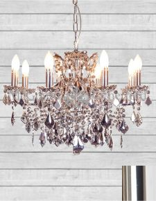 Chrome 8 Branch Shallow Chandelier with Chromed Crystals
