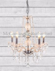 Chateau 5 Branch Glass Arm Chandelier